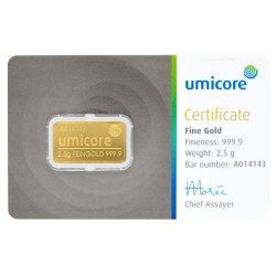 2,5 g Goldbarren Umicore-Zertifiziert