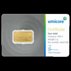 5 g Goldbarren Umicore-Zertifiziert