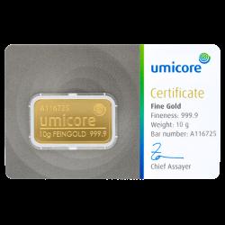 10 g Goldbarren Umicore-Zertifiziert
