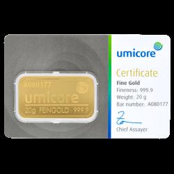 20 g Goldbarren Umicore-Zertifiziert