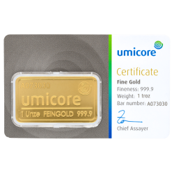 1 oz Goldbarren Umicore-Zertifiziert