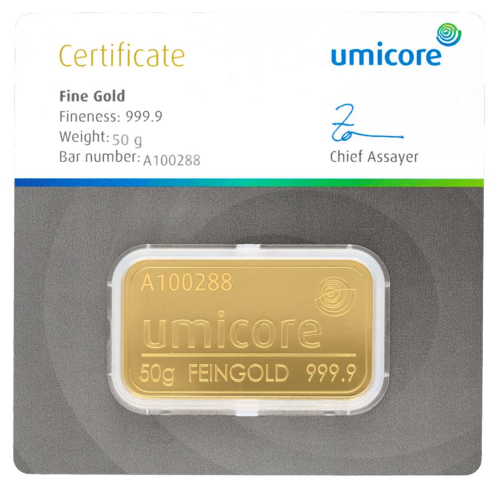 50 g Goldbarren Umicore-zertifiziert