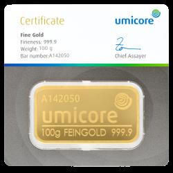 100 g Goldbarren Umicore-zertifiziert